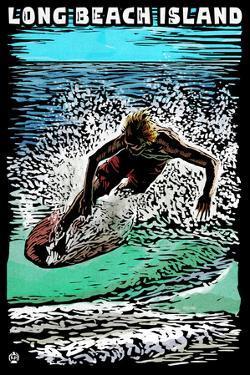 Long Beach Island - Scratchboard Surfer by Lantern Press