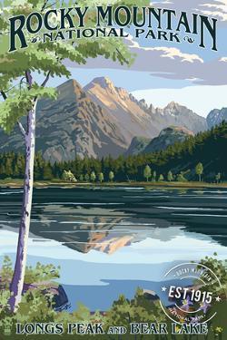 Longs Peak and Bear Lake Summer- Rocky Mountain National Park - Rubber Stamp by Lantern Press
