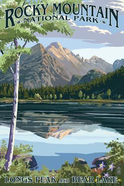 Longs Peak and Bear Lake Summer- Rocky Mountain National Park by Lantern Press