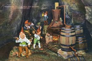 Lookout Mountain, Tennessee - Fairyland Caverns, Interior View of Gnomes at a Moonshine Still by Lantern Press