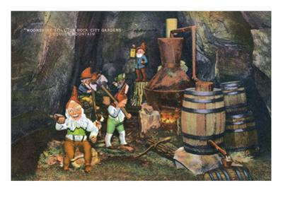 Lookout Mountain, Tennessee - Fairyland Caverns, Interior View of Gnomes at a Moonshine Still