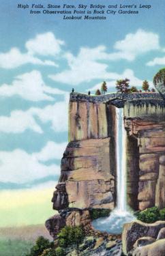 Lookout Mt., TN - Rock City Gardens, View of High Falls, Stone Face, Sky Bridge, Lover's Leap by Lantern Press