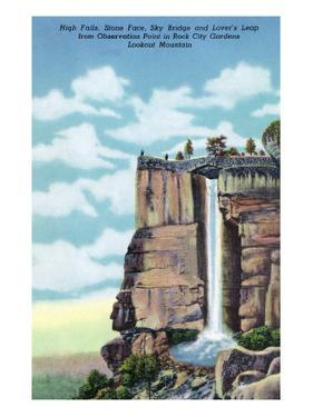 Lookout Mt., TN - Rock City Gardens, View of High Falls, Stone Face, Sky Bridge, Lover's Leap by Lantern Press
