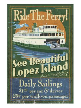Lopez Island, Washington - Ferry Ride by Lantern Press