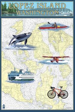 Lopez Island, Washington - Nautical Chart by Lantern Press