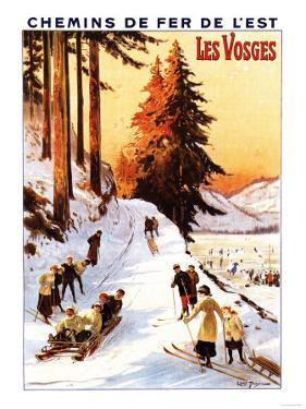 Lorraine, France - Sledding and Skiing at Vosges Poster by Lantern Press