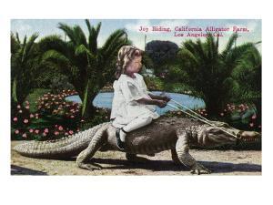 Los Angeles, California - Girl Riding Alligator at the Farm by Lantern Press