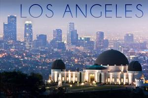 Los Angeles, California - Griffith Observatory and Skyline by Lantern Press