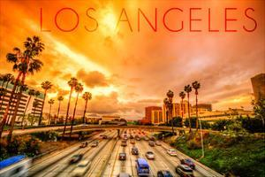 Los Angeles, California - Highway and Palms by Lantern Press