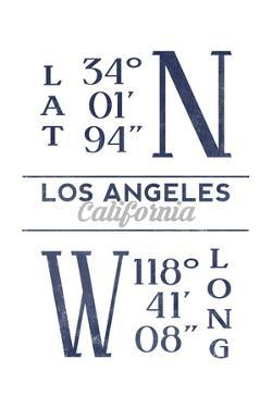 Los Angeles, California - Latitude and Longitude (Blue) by Lantern Press