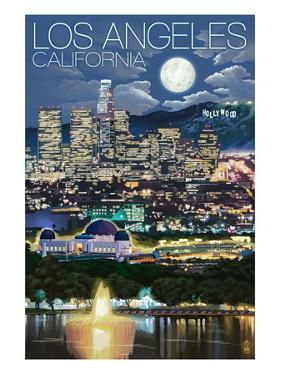 Los Angeles, California - Los Angeles at Night by Lantern Press