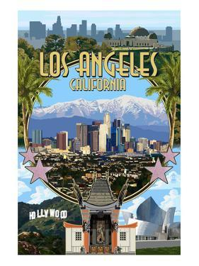 Los Angeles, California - Montage by Lantern Press