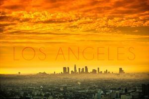 Los Angeles, California - Orange Skyline by Lantern Press