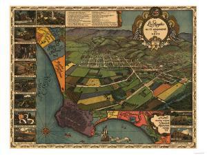Los Angeles, California - Panoramic Map No. 1 by Lantern Press