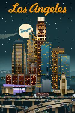 Los Angeles, California - Retro Skyline by Lantern Press
