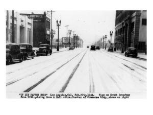Los Angeles, California - Snow on South Broadway by Lantern Press