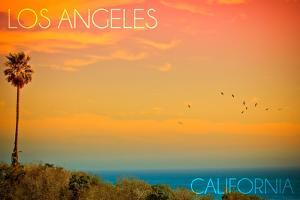 Los Angeles, California - Sunset and Birds by Lantern Press