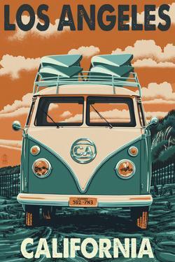 Los Angeles, California - VW Van by Lantern Press