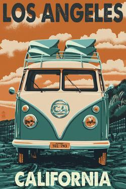 Los Angeles, California - VW Van by Lantern Press