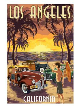 Los Angeles, California - Woodies and Sunset by Lantern Press