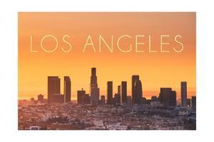 Los Angeles, California - Yellow Skyline by Lantern Press