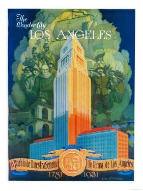 Los Angeles Promotional Poster - Los Angeles, CA by Lantern Press