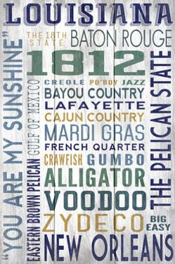 Louisiana - Barnwood Typography by Lantern Press