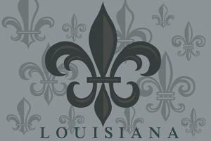 Louisiana - Fleur de Lis - Pattern - Gray by Lantern Press