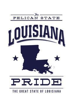 Louisiana State Pride - Blue on White by Lantern Press