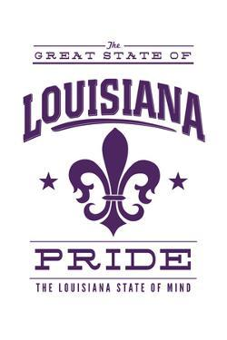 Louisiana State Pride - Purple on White with Fleur De Lis by Lantern Press