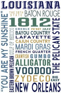Louisiana - Typography by Lantern Press