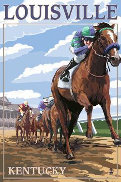 Louisville, Kentucky - Horse Racing Track Scene by Lantern Press