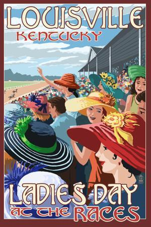 Louisville, Kentucky - Ladies Day at the Track Horse Racing by Lantern Press