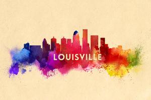 Louisville, Kentucky - Skyline Abstract by Lantern Press