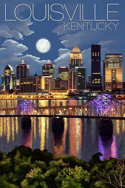 Louisville, Kentucky - Skyline at Night by Lantern Press