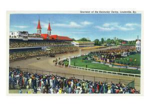 Louisville, Kentucky - Souvenir of the Kentucky Derby; Race Scene by Lantern Press