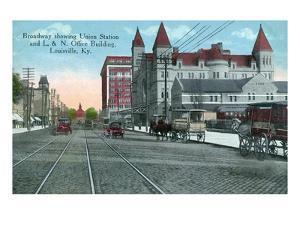 Louisville, Kentucky - Union Station, Louisville and Nashville Office Bldg from Broadway by Lantern Press