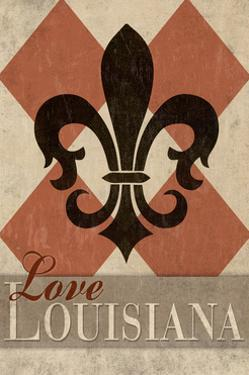 Love Louisiana - Argyle with Fleur De Lis by Lantern Press