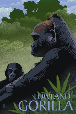 Lowland Gorilla - Lithograph Series by Lantern Press