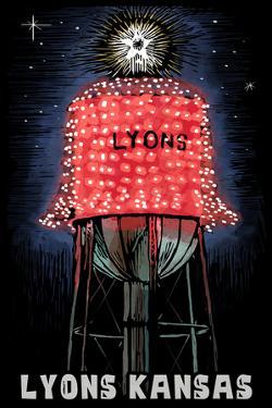 Lyons, Kansas - Watertower - Scratchboard by Lantern Press