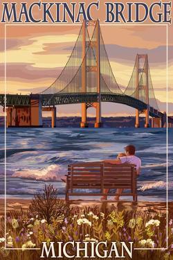 Mackinac Bridge and Sunset, Michigan by Lantern Press