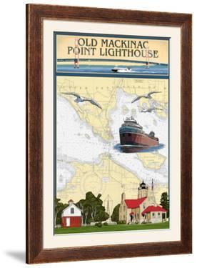 Mackinac, Michigan - Old Mackinac Point Lighthouse - Nautical Chart by Lantern Press