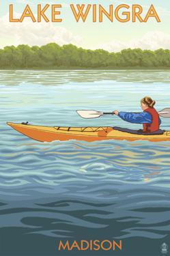 Madison, Wisconsin -Lake Wingra - Kayaker by Lantern Press