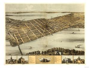 Madison, Wisconsin - Panoramic Map by Lantern Press
