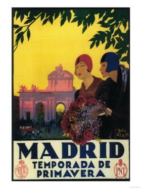 Madrid, Spain - Madrid in Springtime Travel Promotional Poster by Lantern Press
