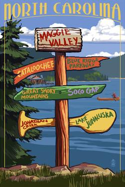 Maggie Valley, North Carolina - Sign Destinations by Lantern Press
