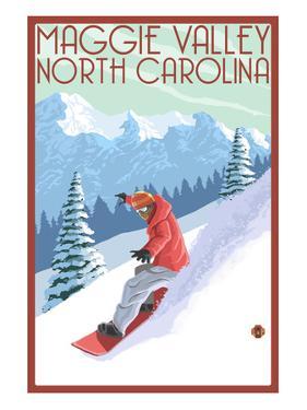 Maggie Valley, North Carolina - Snowboarder by Lantern Press