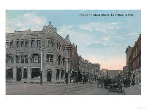 Main Street Scene with Horse Carriages and Model-T - Lewiston, ID by Lantern Press