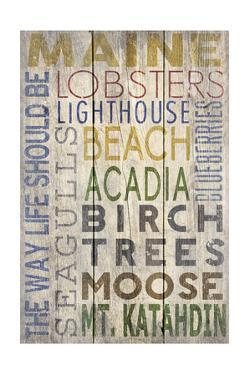 Maine - Barnwood Typography by Lantern Press