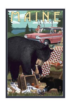 Maine - Bear and Picnic Scene by Lantern Press